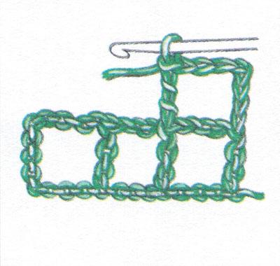 Филейная сетка с пустыми и заполненными клеточками, выполненная столбиками с двумя накидами (фото 2)